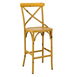 Yellow Retro Cross Back Aluminium high Chair
