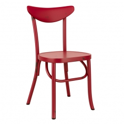 Red Retro Aluminium Stacking Side Chair