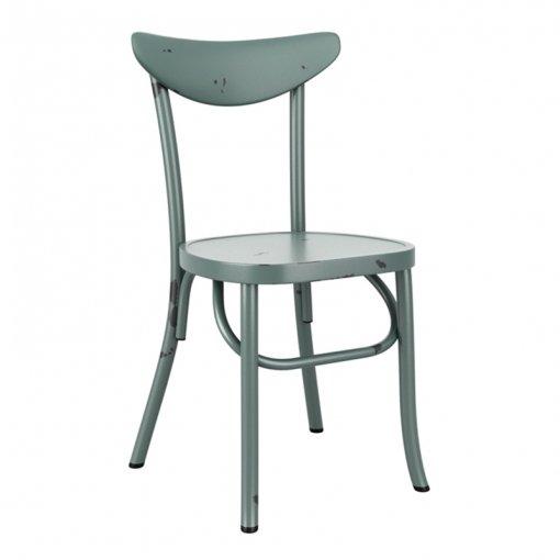 Blue Retro Aluminium Stacking Side Chair