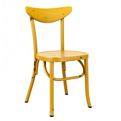 Yellow Retro Aluminium Stacking Side Chair