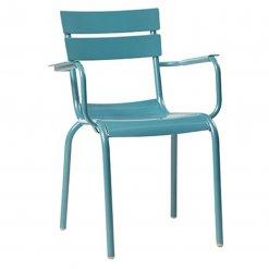 Blue Aluminium Stacking Arm Chair
