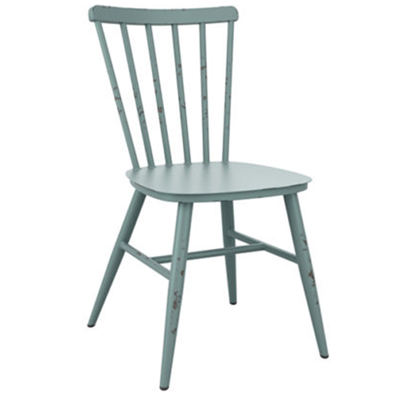An image of Restaurant Furniture Side Chair Spin Aluminium Retro - Light Blue