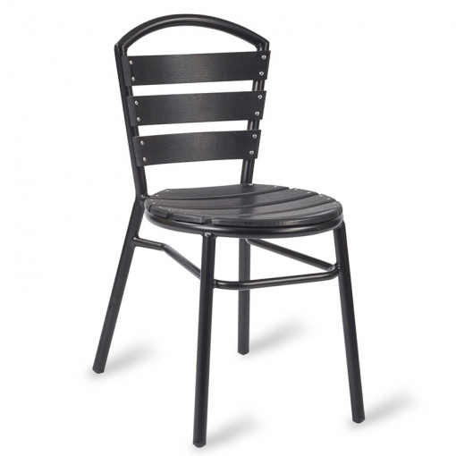 Black Wood effect outdoor Side chair