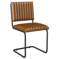 Vintage Tan Leather fully upholstered metal skid frame side chair
