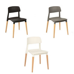 Polypropylene Wood Leg Side Chair