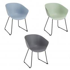 Metal Skid Frame Polypropylene Tub Chair