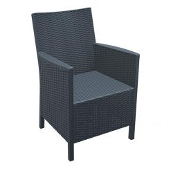 Dark Grey Glass Fibre Weather Resistant Resin Outdoor Arm Chair