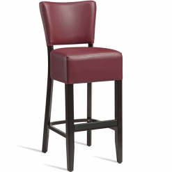 Red faux leather fully upholstered walnut high chair