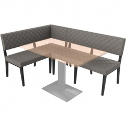 Simplicity Deluxe Quilted - Right Hand Corner Free Standing Booth Seating - 1800mm x 1200mm