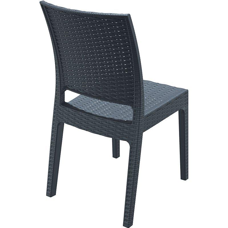 Fleur Rattan Outdoor Stacking Side Chair - Dark Grey ...
