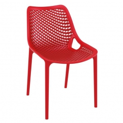 Red Polypropylene Indoor or Outdoor Stacking Side Chair