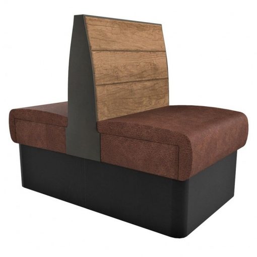 Supreme Plank Booth Seating Standard Height - Back to Back Free Standing - 600mm Wide