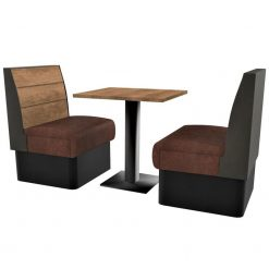 Supreme Plank Booth Seating Standard Height - Complete 2 Seater Free Standing Set - 600mm Wide