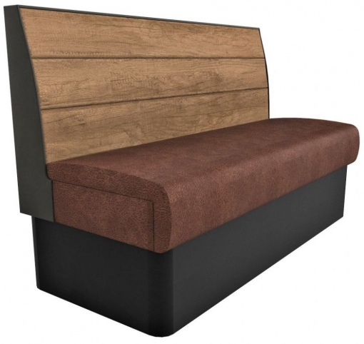 Supreme Plank Booth Seating Standard Height - 3 Seater Free Standing - 1500mm Wide