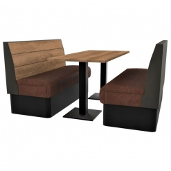 Supreme Plank Booth Seating Standard Height - Complete 6 Seater Free Standing Set - 1500mm Wide
