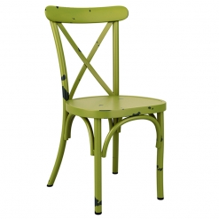 Green Retro Cross Back Aluminium Stacking Side Chair