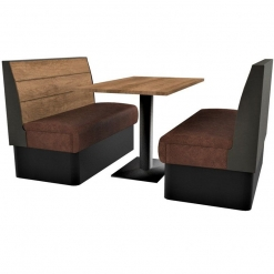 Supreme Plank Booth Seating Standard Height - Complete 4 Seater Free Standing Set - 1200mm Wide