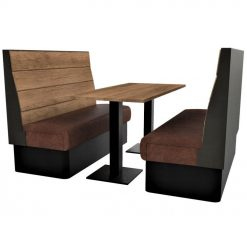 Supreme Plank Booth Seating High Back - Complete 6 Seater Free Standing Set - 1500mm Wide