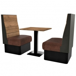 Supreme Plank Booth Seating High Back - Complete 2 Seater Free Standing Set - 600mm Wide