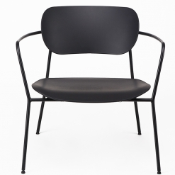 Black Steel Skid Frame Lounge Chair