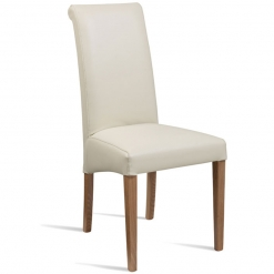 Cream Fully Upholstered High Back Dining Chair