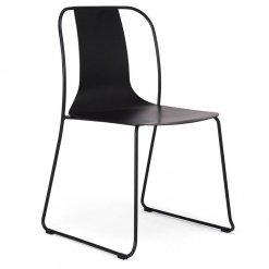 Black Steel Skid Frame Side Chair