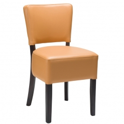 Ochre Brown Fully upholstered Wenge frame Side Chair