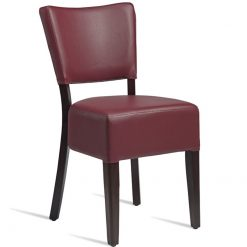 Black faux leather fully upholstered wenge side chair