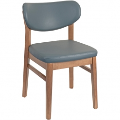 Oak Frame Fully Upholstered Side Chair - Grey
