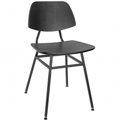 Black Veneer Steel Frame Side Chair