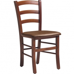Solid Beech Side Chair with Brown Upholstered Seat Pad - Light Walnut Finish