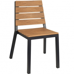 Brown Slatted Wood Effect Outdoor Side Chair
