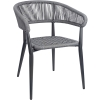 Grey Rope Weave Outdoor Stacking Arm Chair