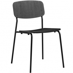 Black Ash Plywood Steel Frame Stacking Side Chair
