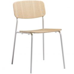 Clear Ash Plywood Steel Frame Stacking Side Chair