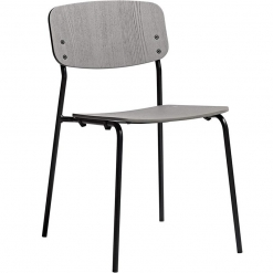 Grey Ash Plywood Steel Frame Stacking Side Chair