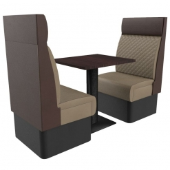 Supreme Quilted High Back - Complete 2 Seater Free Standing Booth Set - 600mm Wide nobis restaurant furniture