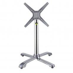 Ferrara Self leveling Outdoor Fliptop Aluminium Table base - Silver- Dining Height