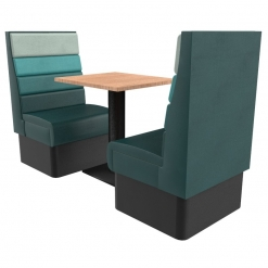 Supreme Horizon High Back –Complete 2 Seater Free standing booth set 600mm wide Nobis restaurant furniture