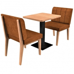 Simplicity Distressed Full Back - Complete 2 Seater Free Standing Booth Set - 600mm Wide