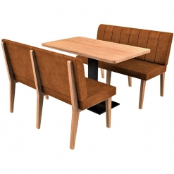 Simplicity Distressed Full Back - Complete 4 Seater Free Standing Booth Set - 1200mm Wide