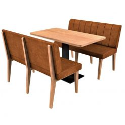 Simplicity Distressed Full Back - Complete 6 Seater Free Standing Booth Set - 1500mm Wide