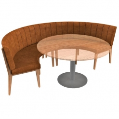 Simplicity Distressed Full back- 4 Seater Curved Free Standing Booth - Large Half Circle