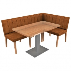 Simplicity Distressed Full Back - Corner Left Hand Free Standing Booth Seating - 1800mm x 1200mm Wide