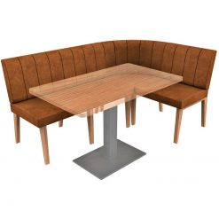 Simplicity Distressed Full Back - Corner Left Hand Rounded Free Standing Booth Seating - 1800mm x 1200mm Wide