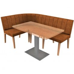 Simplicity Distressed Full Back - Right Hand Rounded Corner Free Standing Booth Seating - 1800mm x 1200mm