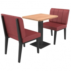 Simplicity Urban Full Back - Complete 2 Seater Free Standing Booth Set - 600mm Wide