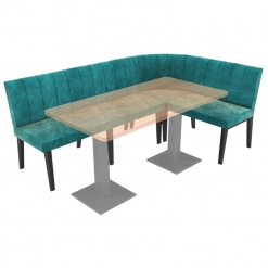 Simplicity Urban Full Back - Corner Left Hand Rounded Free Standing Booth Seating - 2100mm x 1350mm Wide