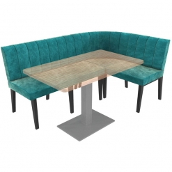 Simplicity Urban Full Back - Corner Left Hand Rounded Free Standing Booth Seating - 1800mm x 1200mm Wide