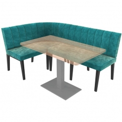 Simplicity Urban Full Back - Right Hand Rounded Corner Free Standing Booth Seating - 1800mm x 1200mm